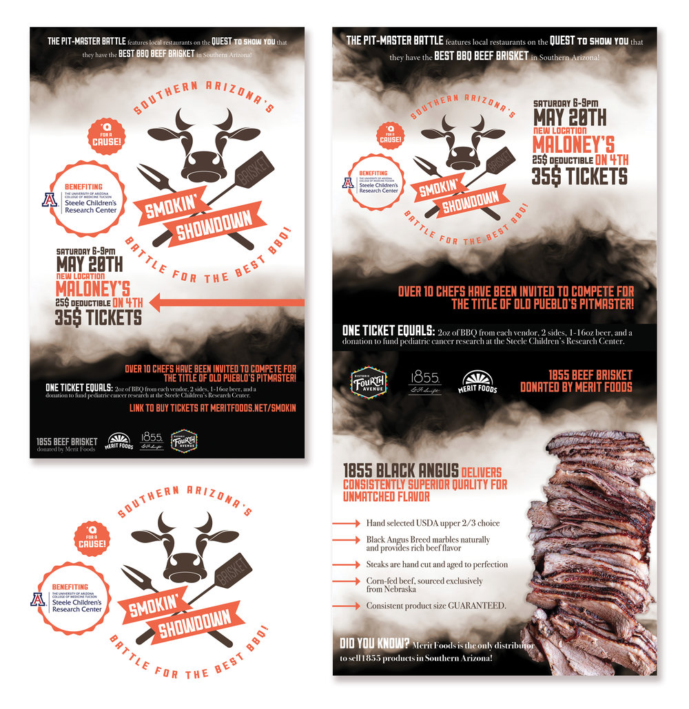 SMOKIN' SHOWDOWN REBRANDING   Here is a rebranding for Tucson's annual Smokin' Showdown BBQ Competition. Shown is the 2017 Flyer, Web Flyer, & Logo. (photoshop, illustrator, indesign)      Please click here to compare it to the previous branding!