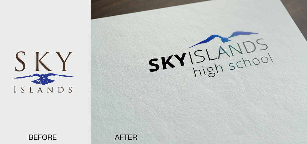 SKY ISLANDS HIGH SCHOOL / LOGO REVAMP   Here is a logo revamp. The school was very attached to their old logo (especially the mountain range/flying bird mark), but they sought a more modern approach to it. (pencil, illustrator)