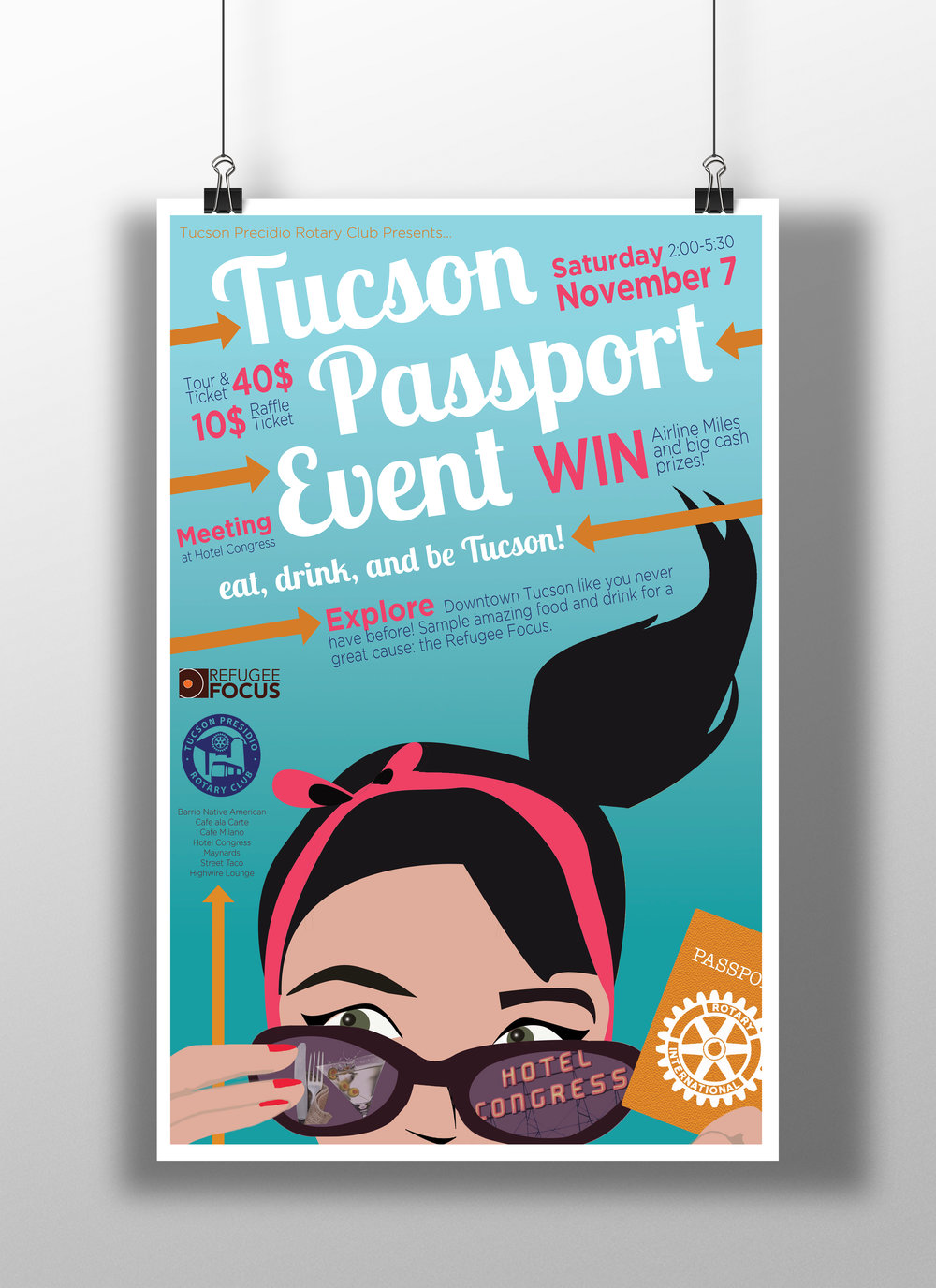 TUCSON PASSPORT EVENT POSTER   Here is a poster for the annual Tucson Passport Event.  (illustrator, photoshop)