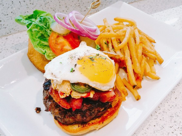 Burger with Egg & Fries