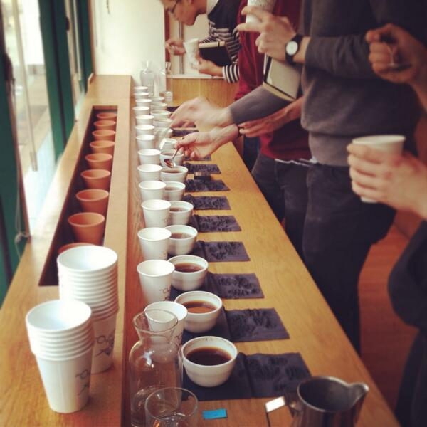 Cupping - a standard method for tasting and comparing coffees. Also used in the scoring of coffees.