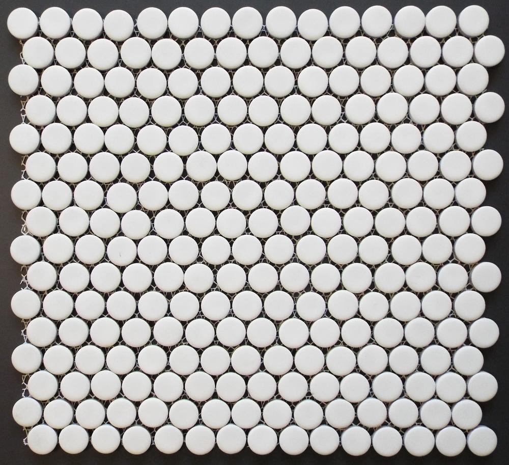 "PNR 1010 - 3/4"" White Matte Penny Round 1.02 SF/PC 20.4 SF/CTN 54 CTN/PLT"