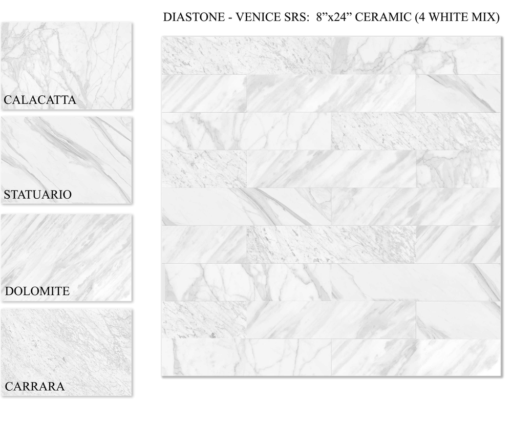 "VENICE WHT8X24 - 8""X24"" MIX  12 PC/CTN (15.50 SF); 64 CTN/PLT   BULLNOSE AVAILABLE - 2.5"" X 24"""