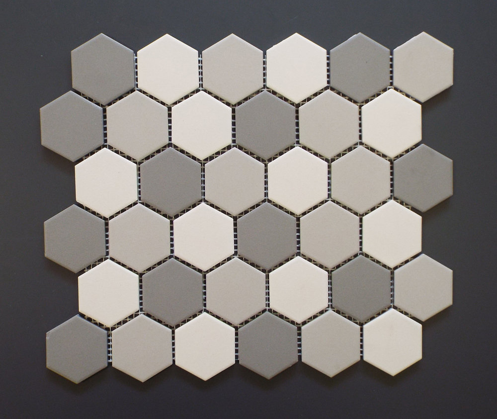 "UNGL HEX2MIXA - 2"" HEXAGON Light Grey Mix  20 PC/CTN (19.70 SF);  54 CTN/PLT"