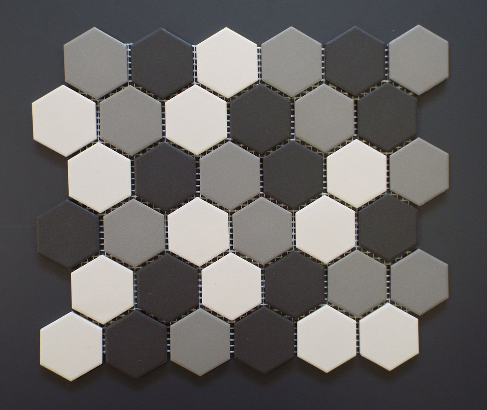 "UNGL HEXMIXB - 2"" HEXAGONMedium Grey Mix   20 PC/CTN (  19.70 SF);   54 CTN/PLT"