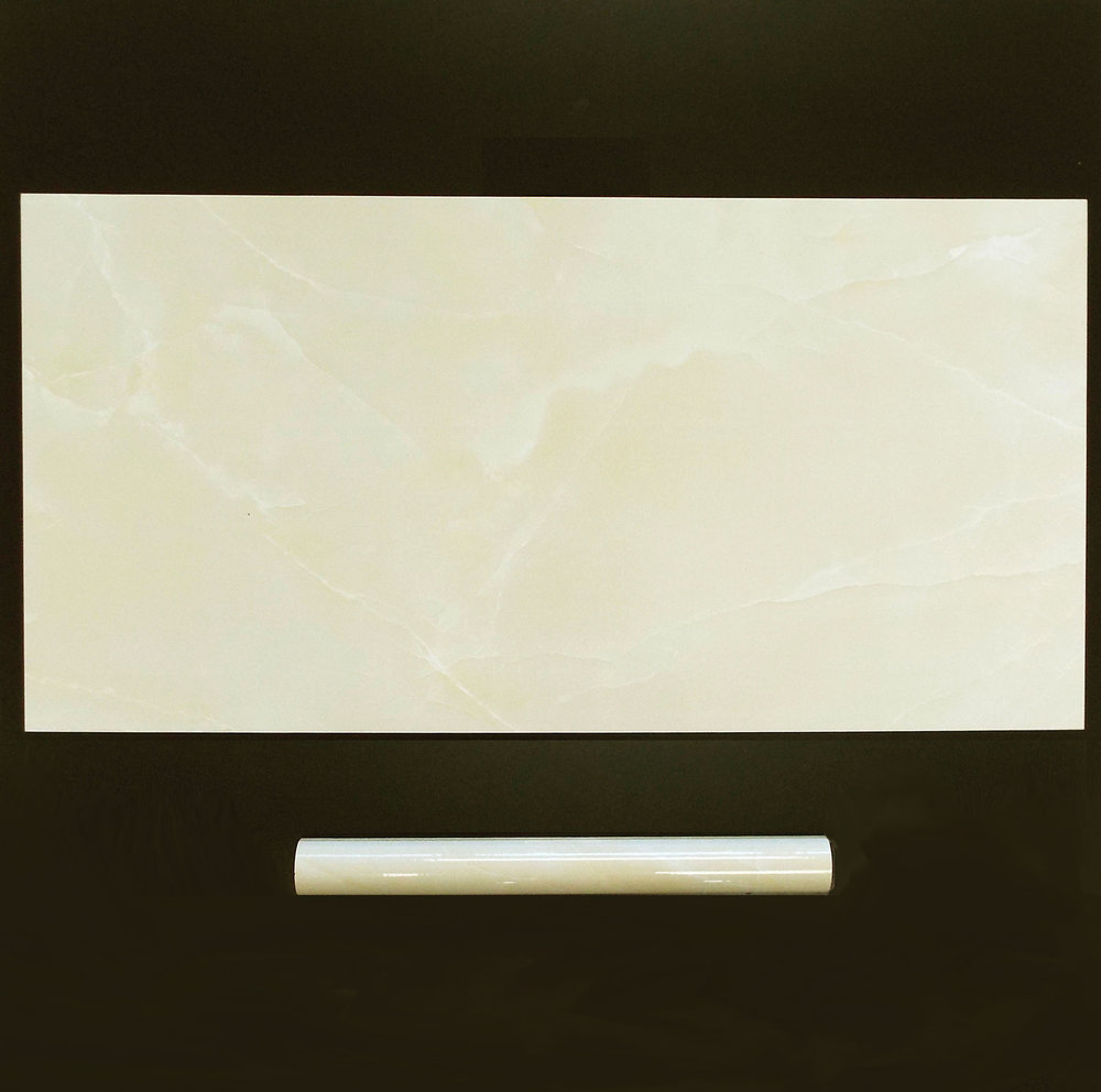 "AMBER ONYX  12""X24"" GLOSSY WALL - 8 PC/CTN (15.50 SF); 48CTN/PLT  1.2""X12"" TORELLO - 40 PC/CTN  No matching floor."