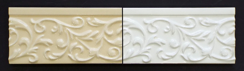 "3""X8"" VINE BEIGE LISTELLO - 40PC/CTN   3""X8"" VINE WHITE LISTELLO - 40PC/CTN"