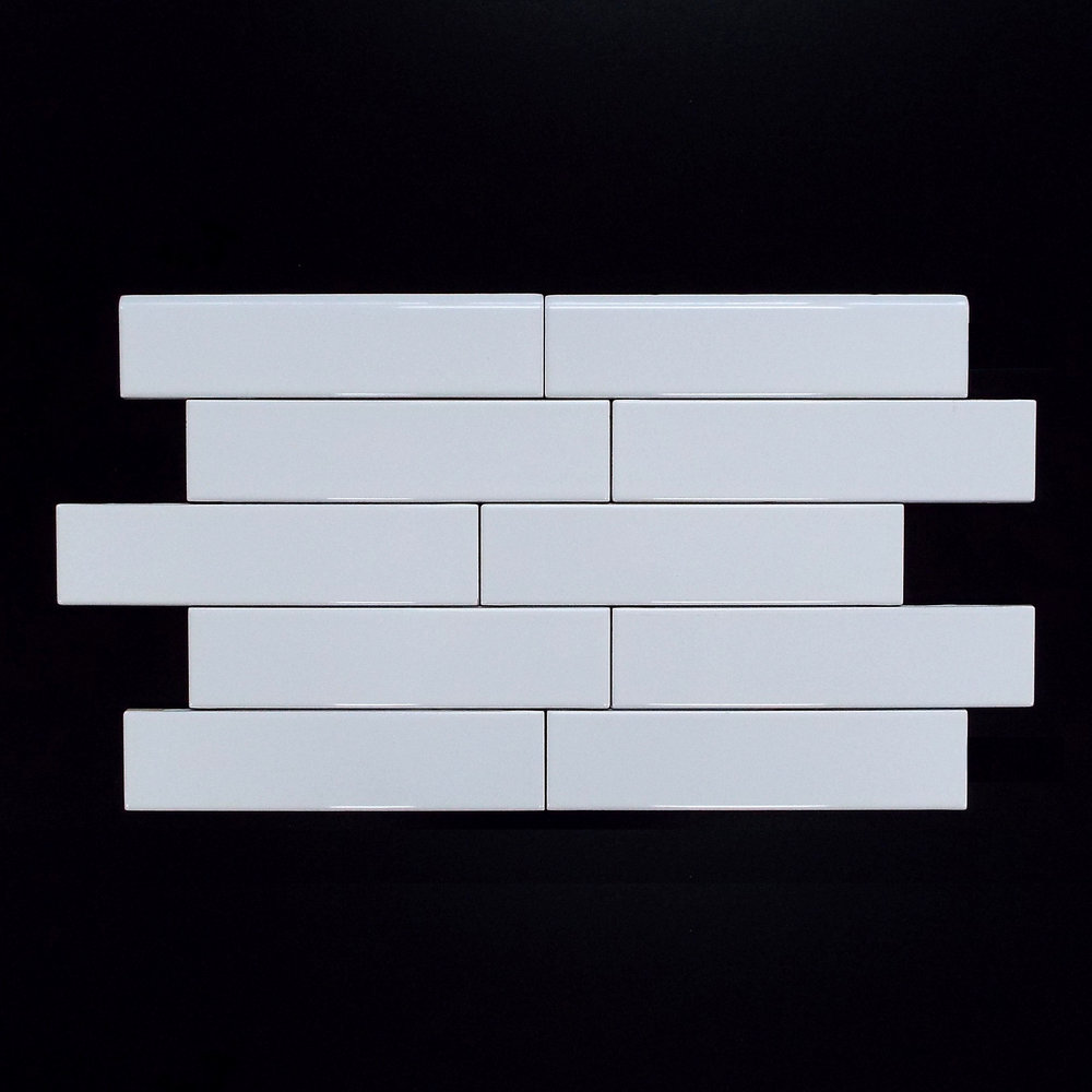 "SNOW WHITE  2""X8"" PLAIN GLOSSY WALL-88 PC/CTN (10.76 SF); 75 CTN/PLT  2""X8"" BULLNOSE - 88 PC/CTN"