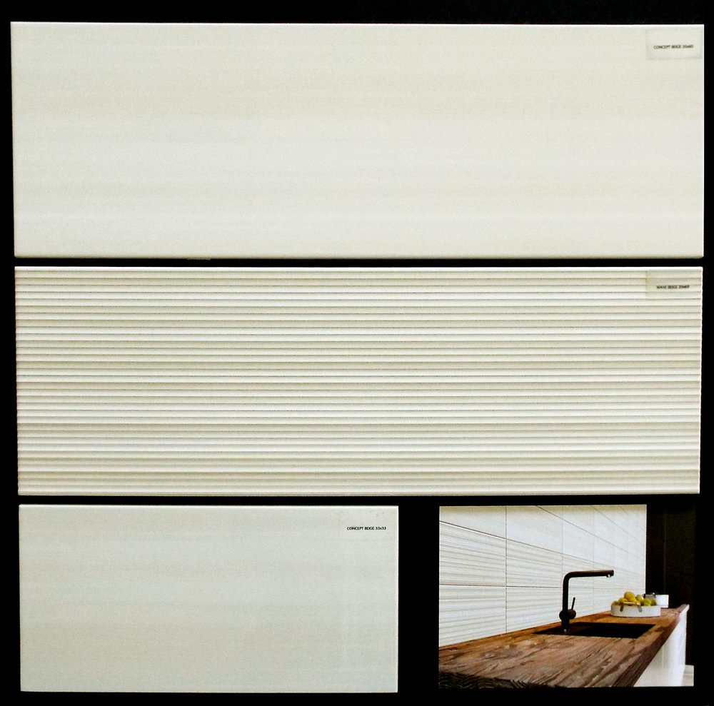 "CONCEPT BEIGE 8""X24"" GLOSSY WALL - 12 PC/CTN (15.50 SF); 48CTN/PLT 8""X24"" GLOSSY DECO - 12 PC/CTN (15.50 SF); 48CTN/PLT 13""X13"" FLOOR GLOSSY (PORCELAIN -1/2 PC SHOWN) - 14 PC/CNT(16.68 SF); 44CTN/PLT 3""X24"" BULLNOSE AVAILABLE - 20 PC/CTN"