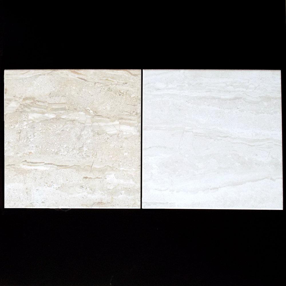 "BEIGE & BLANCO    13""x13"" Porcelain Floor  11 PC/CTN (10.76 SF);48 CTN/PLT   18""x18"" Porcelain Floor  5 PC/CTN (10.87 SF);66 CTN/PLT"