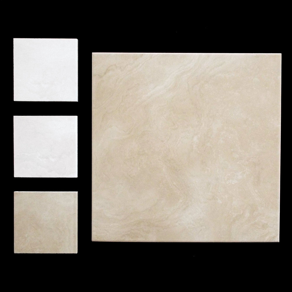 "INDI CREAM & LATTE FLOOR   12""X12"" MATTE - 15 PC/CTN (14.53 SF); 75 CTN/PLT   16""X16"" AVAILABLE IN MATTE AND GLOSSY - 8 PC/CTN (13.78 SF); 64 CTN/PLT"