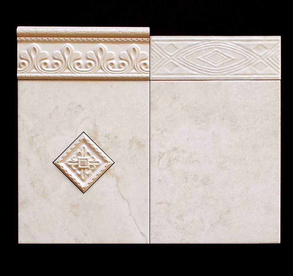 "TUSCANY ALMOND (MATTE)  3""X8"" VERONA LISTELLO - 52 PC/CTN  3""X8"" ROMANO LISTELLO - 12 PC/CTN  8""X10"" VERONA DECO   8""X10"" - 30 PC/CTN (16.15 SF)  2-3/8""X8"" BULLNOSE AVAILABLE  NO MATCHING FLOOR AVAILABLE"