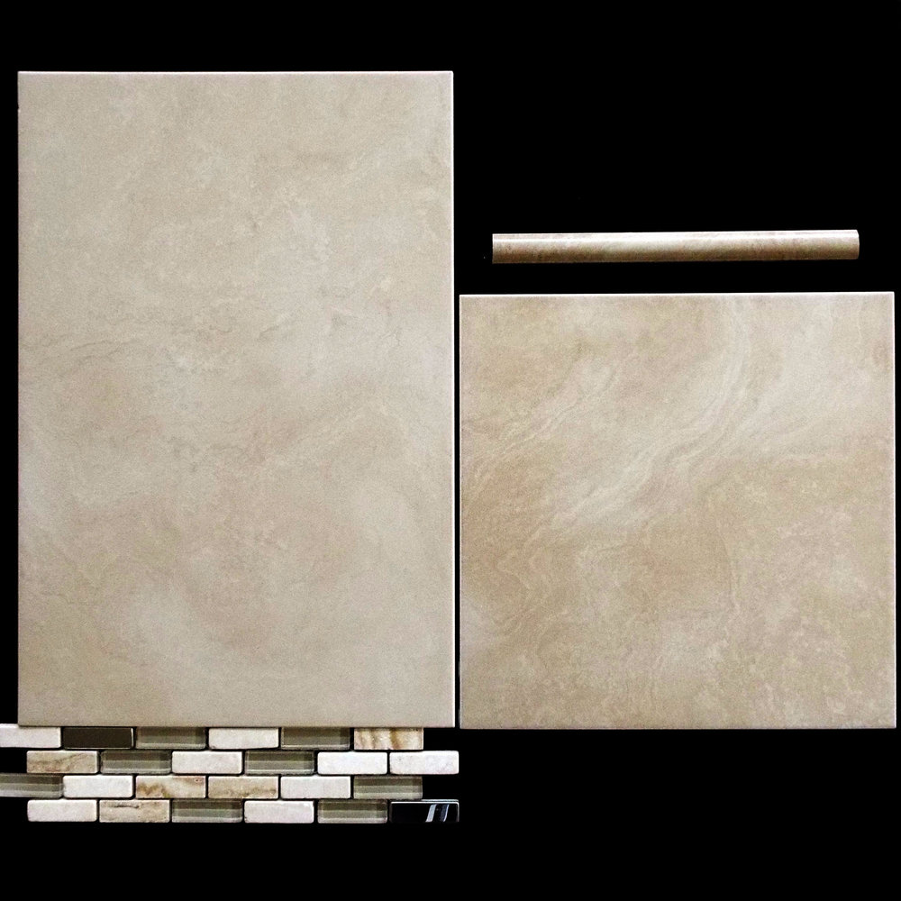 "INDI LATTE  12""X18"" GLOSSY WALL - 8 PC/CTN (11.63 SF); 56CTN/PLT  1""X10"" LATTE TORELLO - 6 PC/CTN   12""X12"" MATTE FL - 15PC/CTN (14.53 SF); 75CTN/PLT  3""X12"" BULLNOSE AVAILABLE - 44 PC/CTN  MANH TRAVERTINE LISTELLO"
