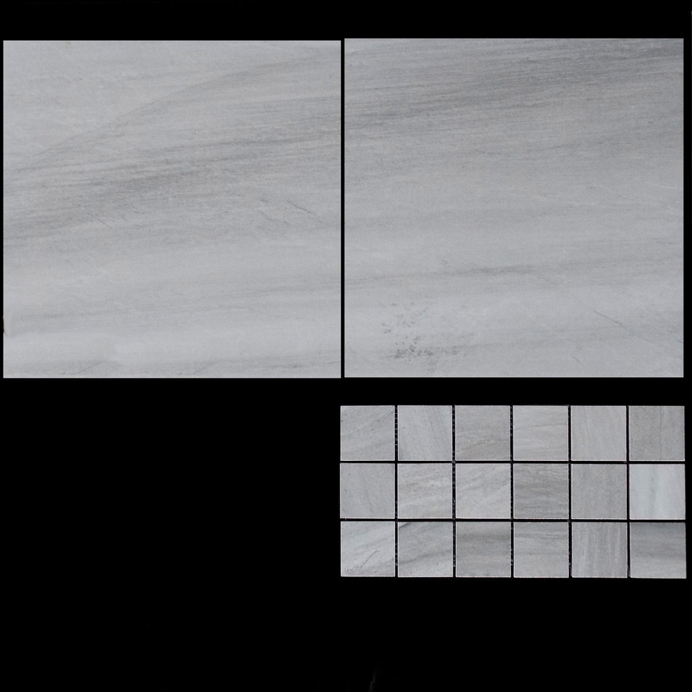 "TOUCH GREY   13""X13"" - 9 PC/CTN (10.76 SF); 62 CTN/PLT  2""X2"" MOSAIC - 9 PC/CTN (10.76 SF)  12""X24"" - 6 PC/CTN (11.63 SF); 40 CTN/PLT"