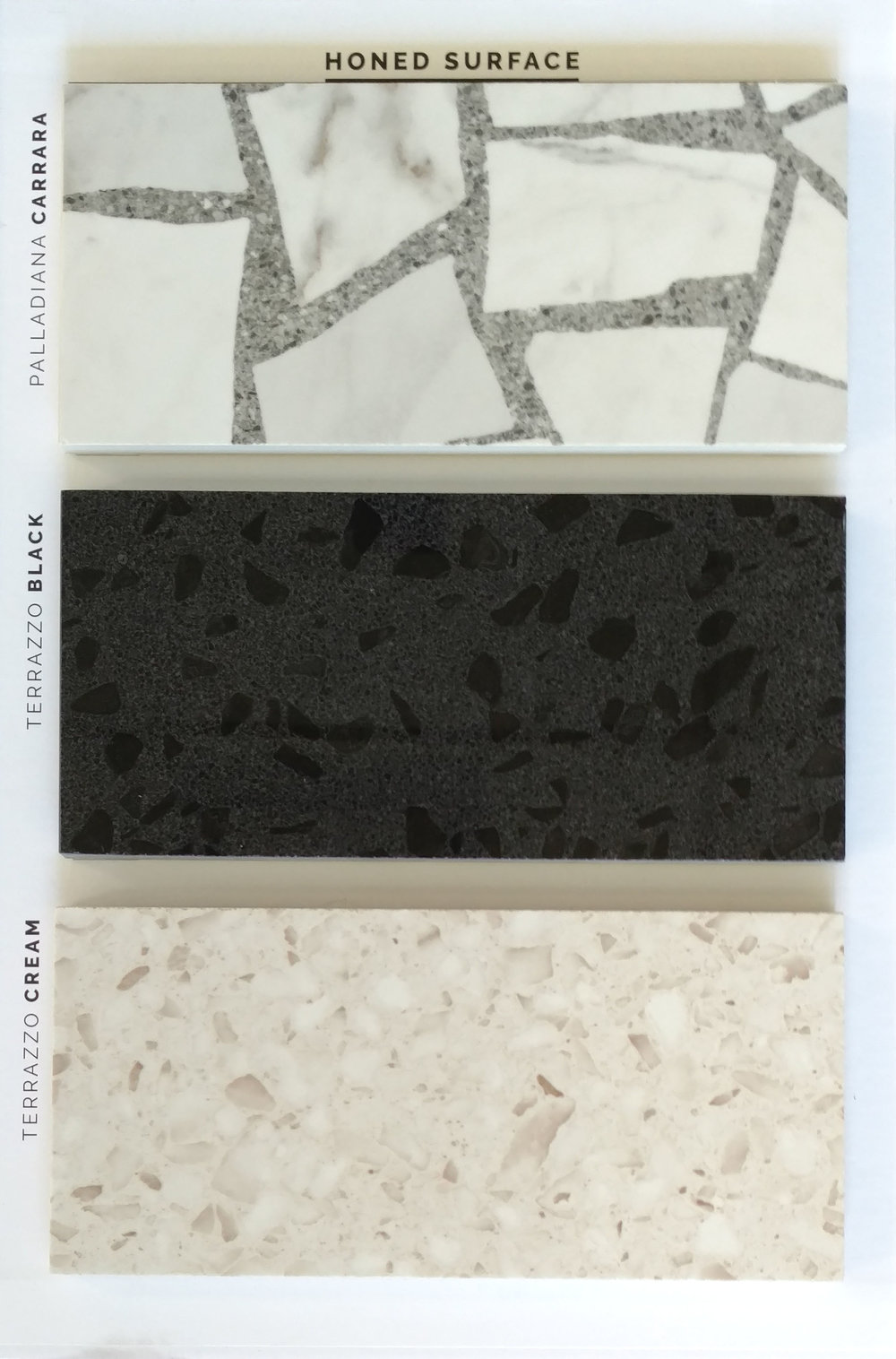 "HONED (Polished) 24""x24""    Carrara / Black / Cream  3 PC/CTN (11.63 SF); 40 CTN/PLT  Special order sizes:  12""x24"" / 18""x36"" / 30""x30"" / 30""x60"""