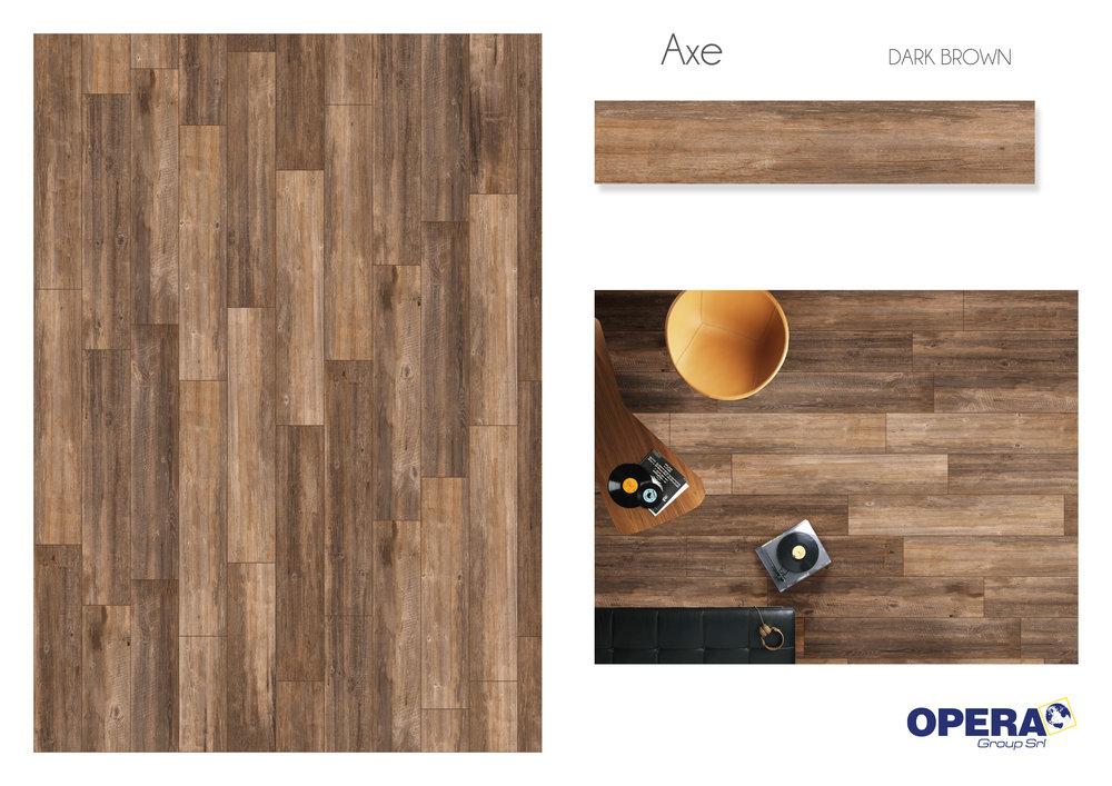 "Opera Axe -Dark Brown 8""x48""   4 PC/CTN (10.33 SF); 40   CTN/PLT"
