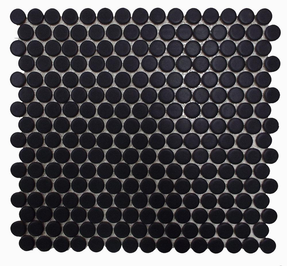 "PNR 1022 - 3/4"" Black Matte Penny Round  1.02 SF/PC 20.4 SF/CTN 54 CTN/PLT"