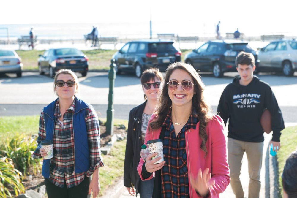 People arriving after the very convenient two hour train ride from NYC. Look they are still happy! Ocean Grove, NJ provides the perfect location for a Beach Getaway.