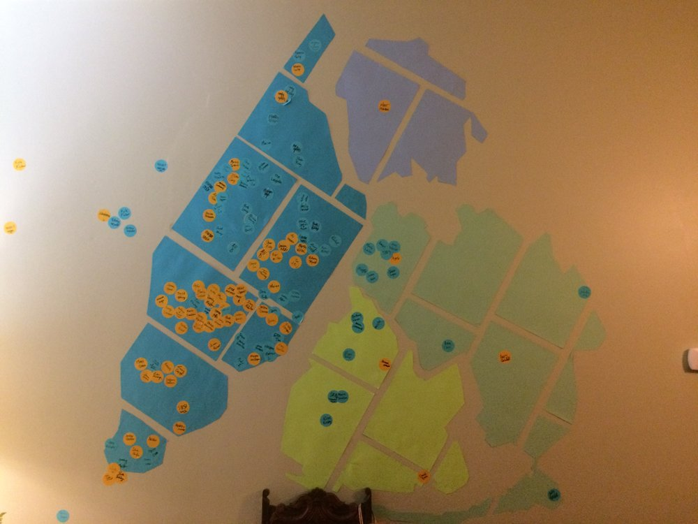 A map from our last Beach Getaway showing where our millennials live in the five boroughs. Sam will be leading a Leadership Development Group in Queens (lightest blue on right) and in Manhattan (darkest blue on left), which is where we live.
