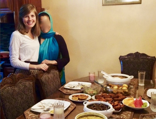 Annalisa with her friend during the Iftar (breaking the fast) meal.