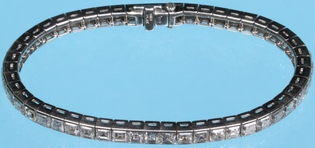 Diamond and Platinum Straight Line Bracelet- $18,000