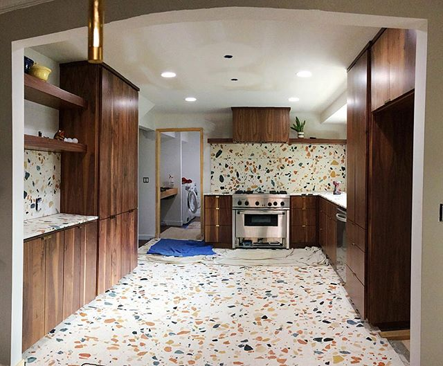 #workinprogress #wow got an update from @cicada_co on this walnut kitchen we installed a few weeks ago. THIS TILE! Handmade in Italy- I have never seen anything like this. Hats off to Tara Davis with Cicada Company for this bold and beautiful design. Can't wait to see it when it's all finished!