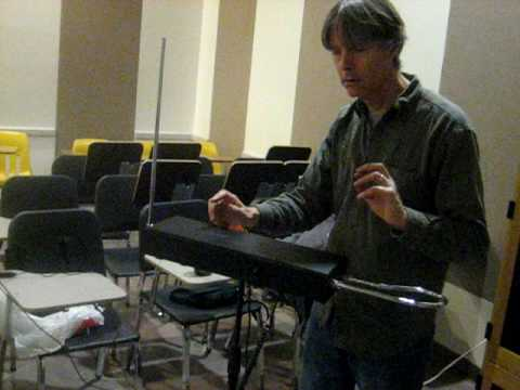 Andrew Joron on his Theremin.