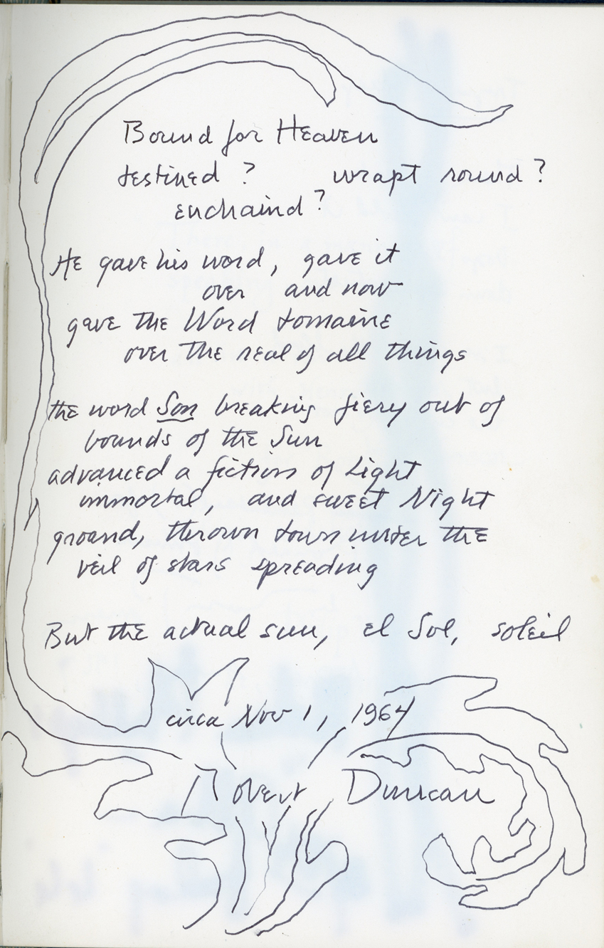 Robert Duncan's page from Ronald Johnson's Holograph Book, from the 1960s.