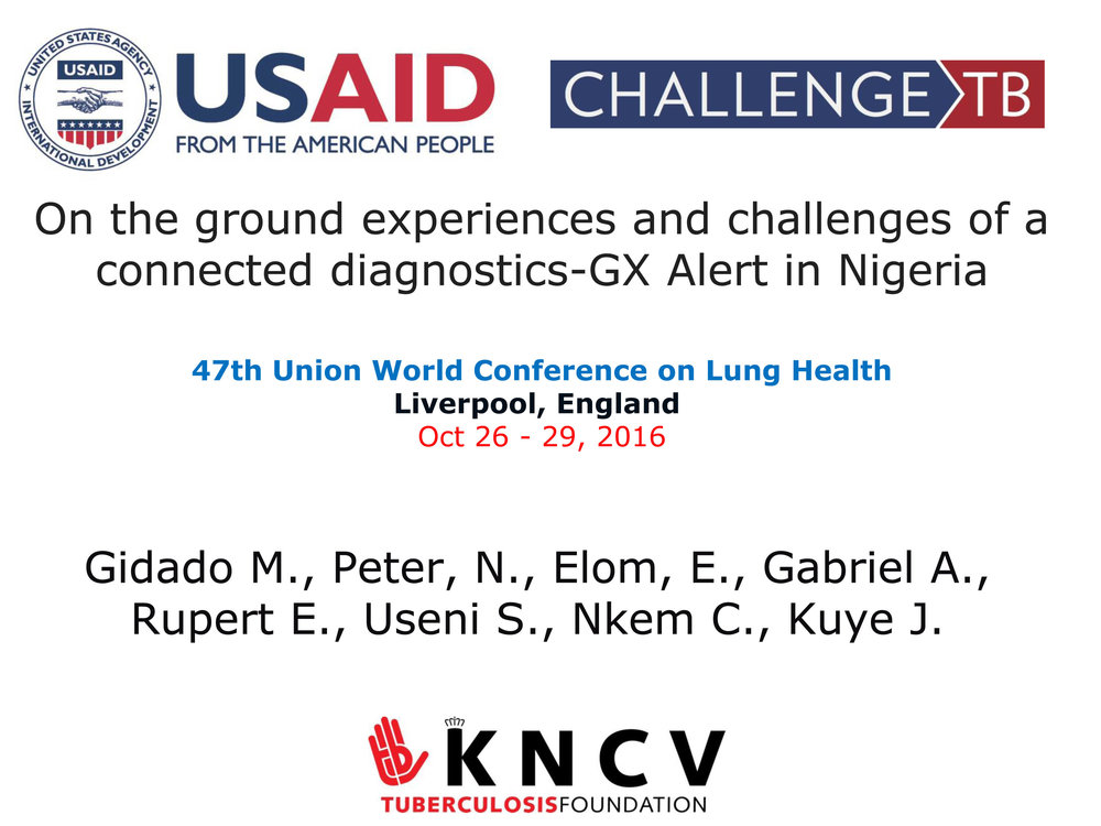 October 2016 | Union Conference:  On the ground experiences and challenges of connected diagnostics GxAlert