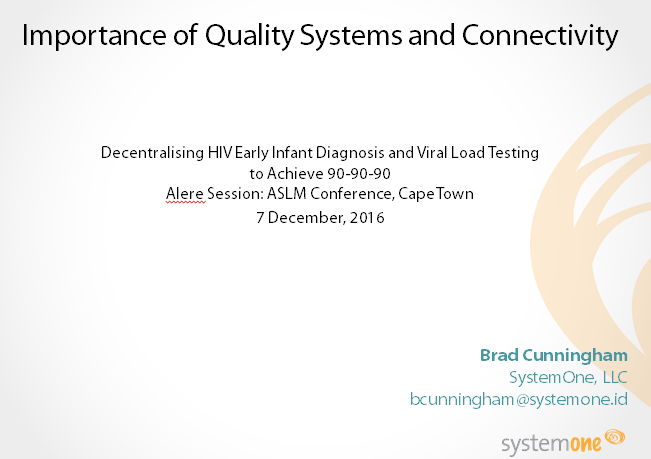 December 2016 | ASLM:  Importance of Quality Systems and Connectivity