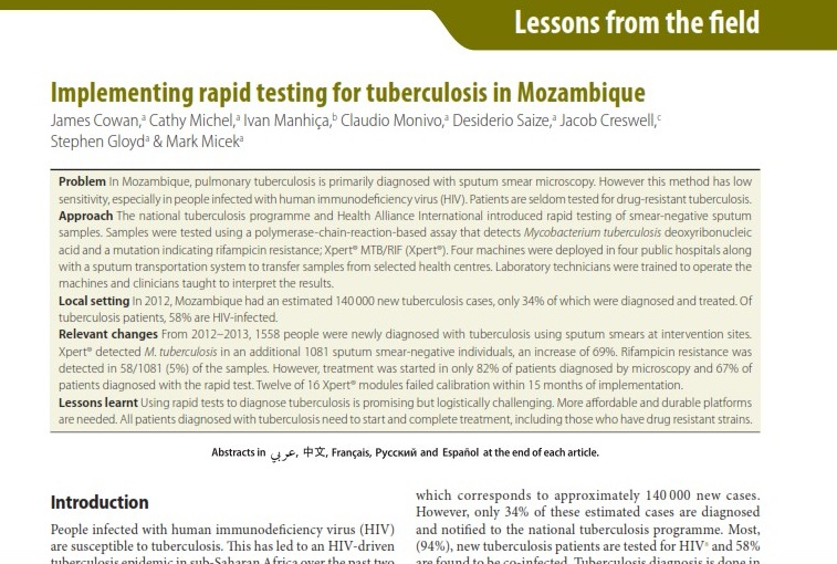 2015 | Implementing rapid testing for tuberculosis in Mozambique