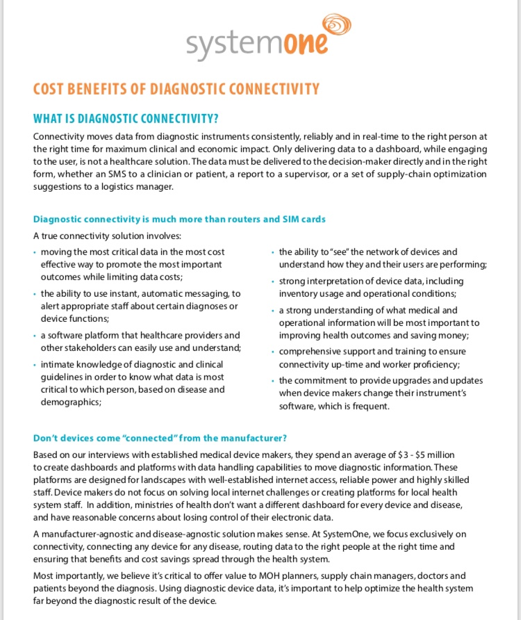 """February 2018: SystemOne White Paper    """"Cost Benefits of Diagnostic Connectivity"""""""