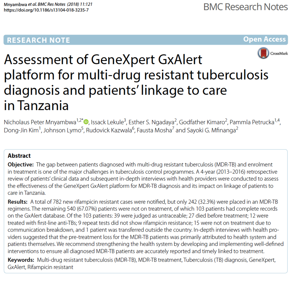 February 2018 | BMC Research Notes:  Assessment of GeneXpert GxAlert platform for multi-drug resistant tuberculosis diagnosis and patients' linkage to care in Tanzania