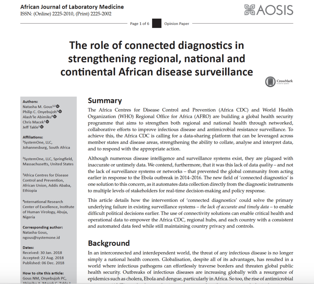 December 2018 | African Journal of Laboratory Medicine:   The Role of Connected Diagnostics in Strengthening Regional, National and Continental African Disease Surveillance
