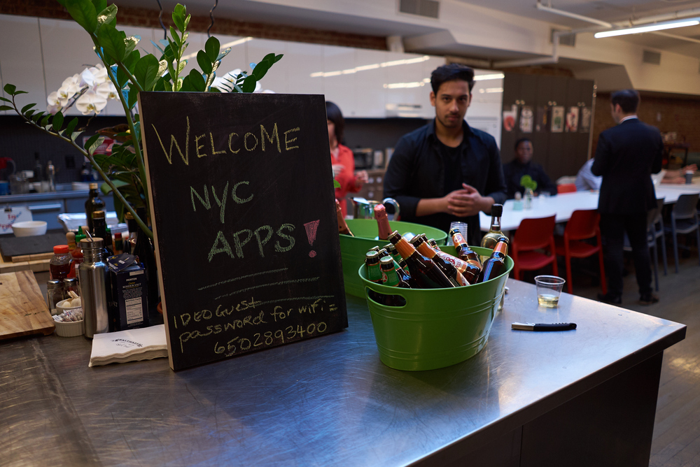 IDEO welcomes NYC Apps with beer and pizza!  Photos courtesy of NYC Apps.
