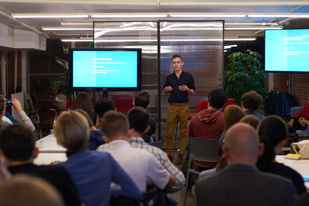 Liam Spradlin introducing Project Phoebe. Photos courtesy of NYC Apps.