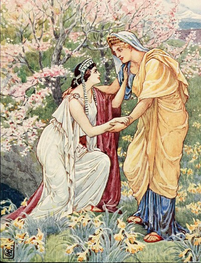 Demeter welcomes Persephone back to the surface