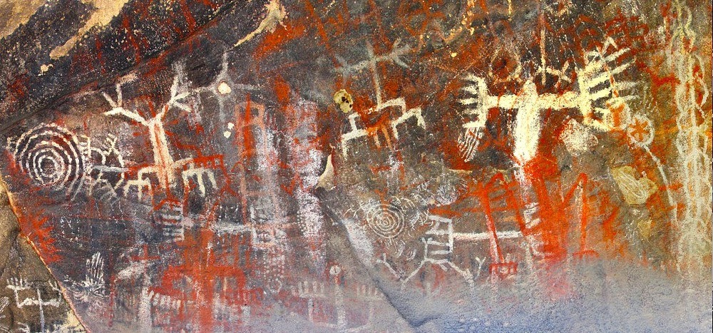 Chumash Cave Paintings in the Burro Flats Painted Cave, Simi Valley,CA. photo by nicely