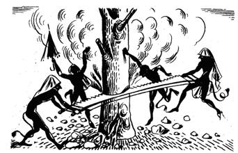 Kallikantzaroi stay underground sawing the world tree, so that it will collapse, along with Earth