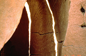 "Winter Solstice"" Sun daggers"" Fajada Butte, Chaco Canyon (National Park Service photo)."