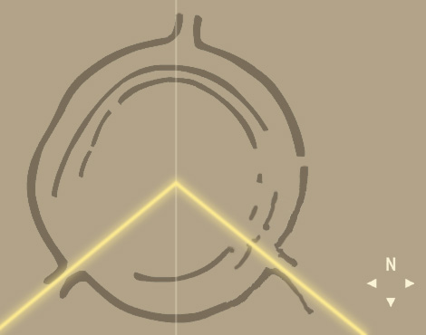 Sketch of Goseck Circle shows line of sight to the Winter Solstice sunrise and sunset