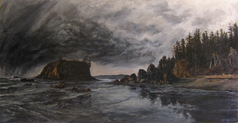 "Ruby Beach. Oil. 24"" x 36"". 2015."
