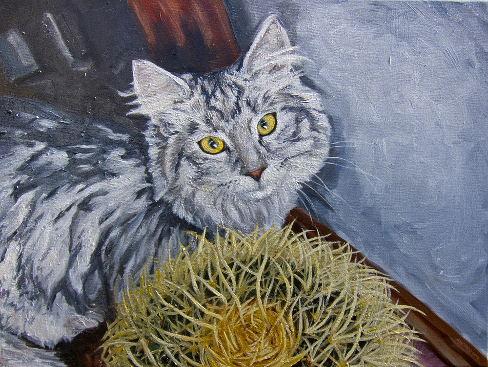 "Sam With Cactus. Oil. 24"" x 30"". 2015"