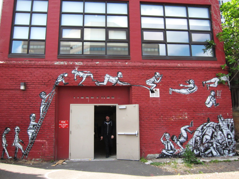 The Leap and Heap of Humanity. PSU. Spray paint. 18' x 50'. 2013.