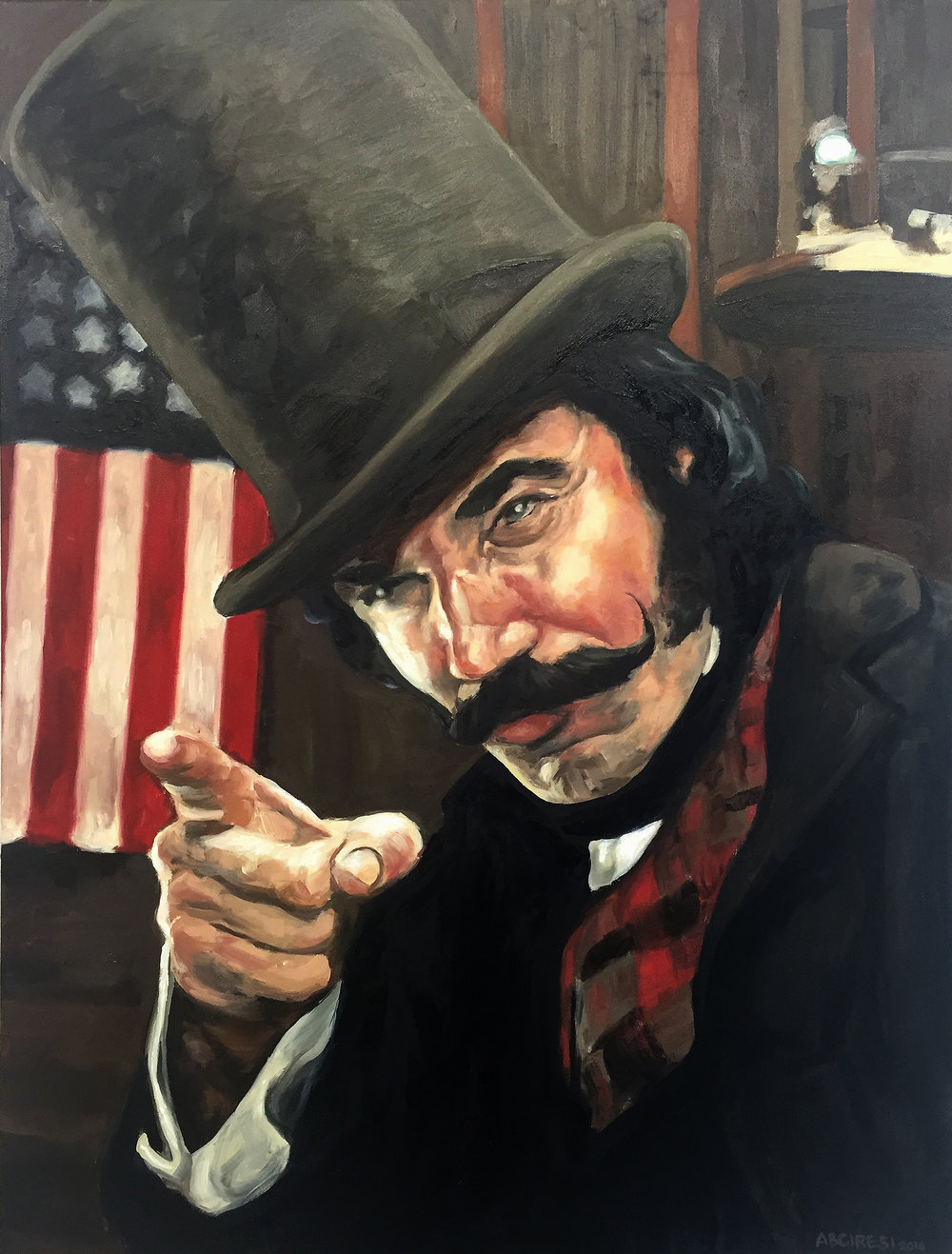 "Daniel Day Lewis as ""The Butcher"" in Gangs of New York. Oil on canvas. 2016."
