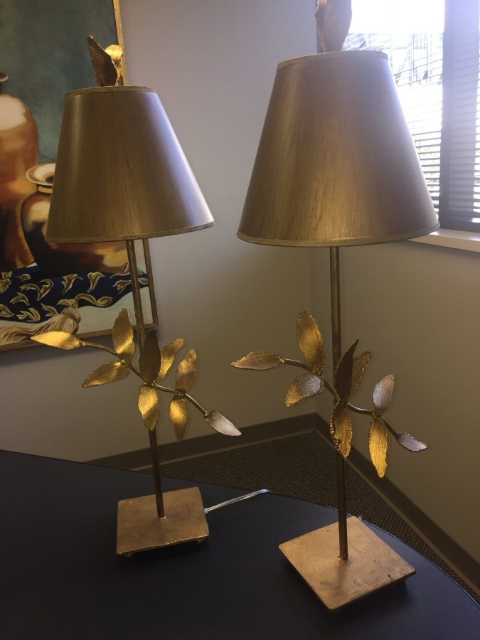 Flambeau lamps, designed by Elaine Gleason, in golf leaf overlay and delicate leaf pattern   Donated by: Chel'Den's