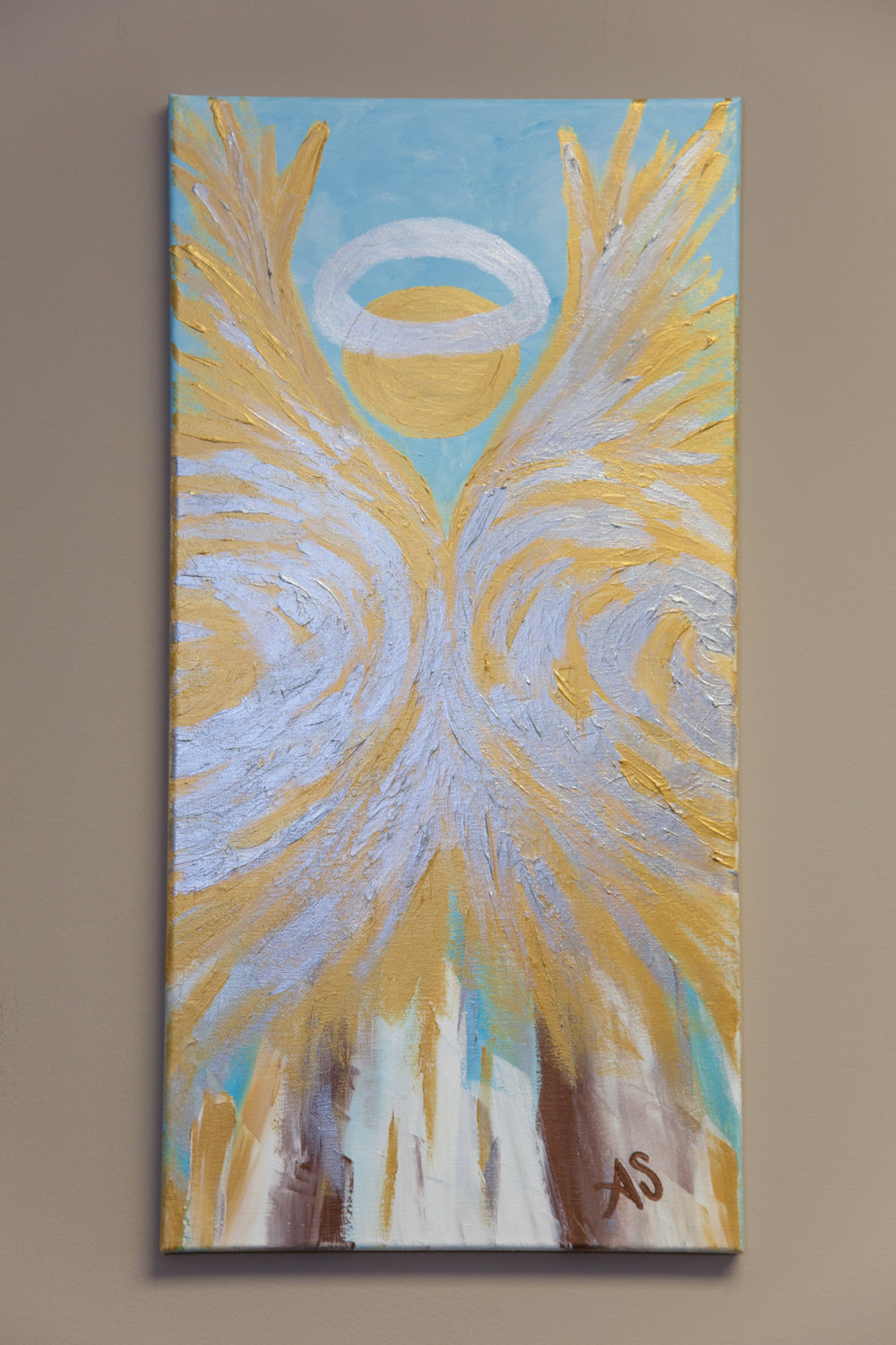 """""""Sonja Angel"""" by Amber Stuart    Acrylic 10 x 24    Additional pieces available at Kathleen's    Donated by: MarMac Real Estate"""