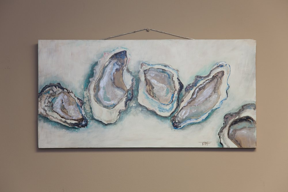 """""""Limoges Oyster Plate""""    Oil & Acrylic on Birch 12 x 24   Donated by: Tracy McCann~""""Of all the paths you take in life, make sure a few of them are sandy"""""""