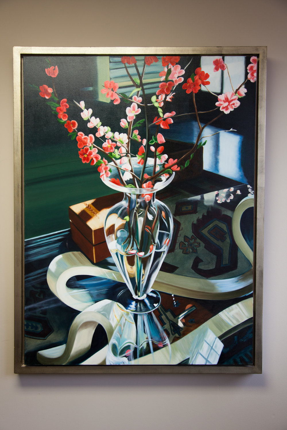"""""""Quince in Glass Vase""""    36 x 48 Oil on canvas   Donated by: Noel Shinn     Person or Pet portait of your choice in 14 x 18 size. Expires December 8, 2018.   Donated by: Emily Siek"""