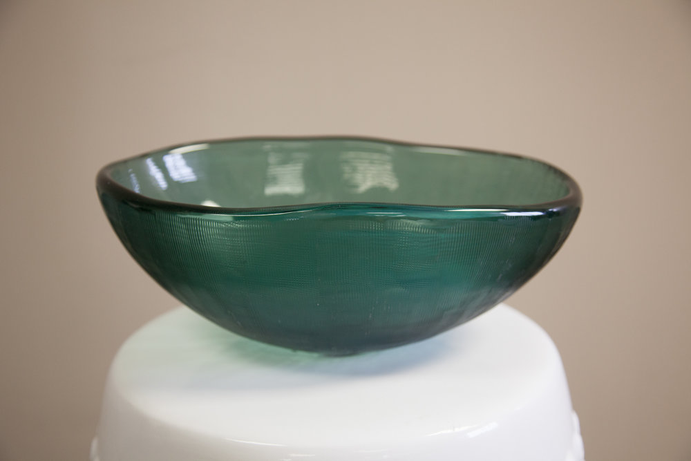 Green toned large glass bowl   Donated by: Friends of DMH Foundation